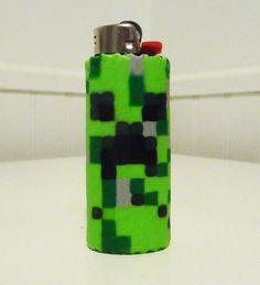 Minecraft CREEPER Perler Bead LIGHTER CASE. $10.00, via Etsy.