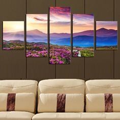 5 Piece(No Frame) The Sunset and The mountain Modern Home Wall Decor Canvas Picture Art HD Print Painting On Canvas Artworks