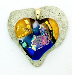 Fused  Dichroic Glass Heart Pendant by Chris1 on Etsy, $23.00