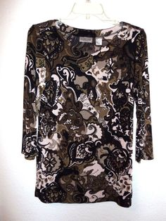 Chico's Travelers Top Long Sleeve Black brown Tan size 0 Small no iron stretch  #Chicos #Top #Casual