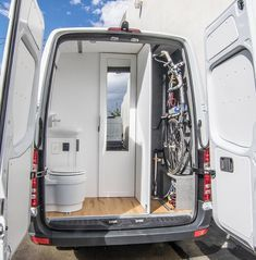 Just finished this new build with a super custom bathroom. Home like comfort whe… Just finished this new build with a super custom bathroom. Home like comfort when you want it, endless gear storage when you need it!… - Create Your Own Van Van Conversion Interior, Camper Van Conversion Diy, Van Interior, Van Conversion Toilet, Van Conversion With Bathroom, Ford Transit Camper Conversion, Room Interior, Safari Condo, Camper Van Shower