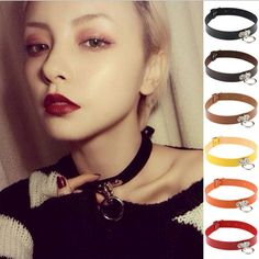 Cool Punk Goth Rivet Choker Leather Collares Round Metal Anime