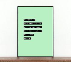 Citation littéraire imprimable - citations - impression typographique - minimaliste cite impression - citation de livre - vérité - mensonge - citation personnelle - Harriet l'espionne