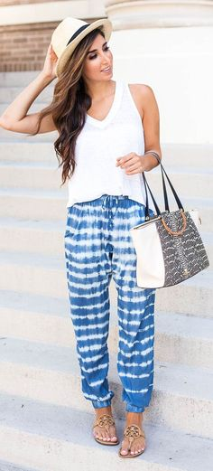 Blue And White Tie-dye Cool Girl Pants by The Darling Detail