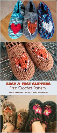 Sie Hausschuhe Fuchs Easy Slippers Free Crochet Pattern - Crochet and Knitting Patterns Easy Crochet Slippers, Kids Slippers, Fox Slippers, Felted Slippers, Crochet Shoes Pattern, Crochet Motifs, Crochet Fox Pattern Free, Crochet For Kids, Crochet Baby