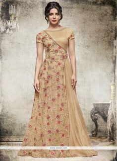 Priyanka Chopra Beige Net Anarkali Salwar Kameez Model: YOS8192