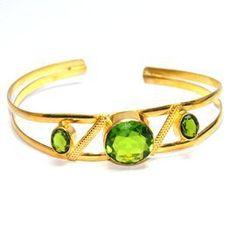 Fashionable Peridot Gemstone Brass bangle ☺ ☻. ✿