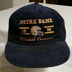 Notre Dame Irish Football 1988 National Champions Corduroy Snapback Cap Hat blue…