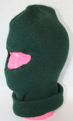 Vintage Dark Green Ski Mask with Cut Out for Face, 1980's to 1990's by ilovevintagestuff on Etsy