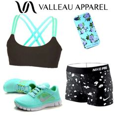 Perfect workout outfit! Valleau Apparel sports bra Nike pro compression shorts Nike Free Shoes in mint