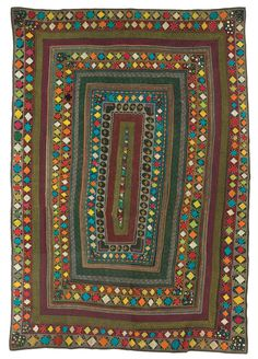 Ralli quilt, Saami People, probably made in Badin district, Sindh, Pakistan, circa 1970-1990, purchase made possible through James Foundation Acquisition Fund, 86.5 x 60 in.