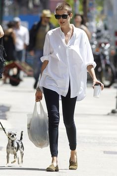 Agyness Deyn in a white shirt. She looks comfy and casual. | @andwhatelse