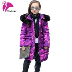 On Sale $26.68, Buy Teenage Girls Winter Jackets Children Warming Long Camouflage Coat Fashion Cotton Detachable Cap Zipper Jacket Outwear Clothing