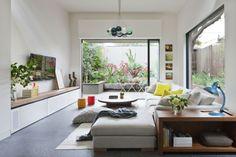 idée  pour aménagement de salon avec un canapé modulable