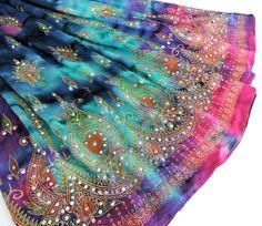 Tie Dye Skirt: Long Gypsy Skirt, Maxi Skirt, Festival Skirt, Bohemian Hippie Skirt, Flowy Indian Boho Floral Skirt Pink Purple Blue Yellow by DelhiDaze on Etsy
