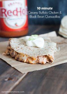 10 Minute Creamy Buffalo Chicken & Black Bean Quesadillas
