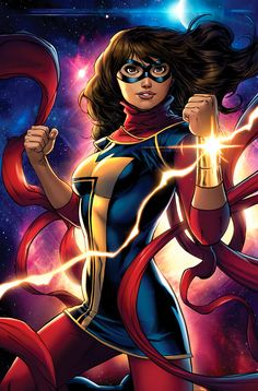 Kamala Khan (Ms. Marvel) Species: Human with Inhuman DNA (Jersey City, New Jersey, USA) Morphogenics, size alteration, accelerate healing factor, bioluminescence, appearance alteration (Debut: 2014)