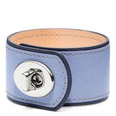 Coach Medium pale blue Leather Turnlock Cuff ❤ liked on Polyvore