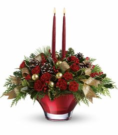TELEFLORA'S HOLIDAY FLAIR CENTERPIECE - A real show stopper - this holiday arrangement is delivered in a custom crafted hand-blown glass bowl with 2 tapers. Will leave a lasting impression on your family and guests! Christmas Flower Arrangements, Holiday Centerpieces, Christmas Flowers, Christmas Table Decorations, Floral Centerpieces, Floral Arrangements, Christmas Wreaths, Christmas Crafts, Christmas Holiday