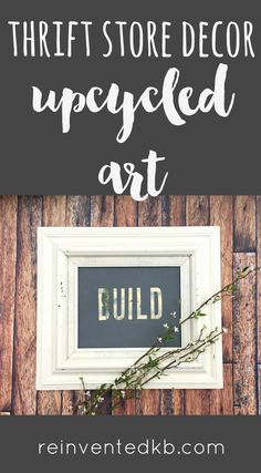 Join the thrift store decor upcycle challenge with this easy upcycled art project! This easy DIY has endless possibilites and can be completed in about an hour. via @ReinventedKB