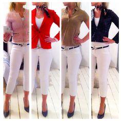 4 ways to style white jeans.