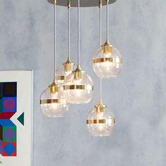 Banded Glass Chandelier, 5-Light, Antique Brass