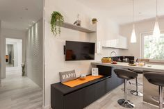 The living area with a induction open-space kitchen