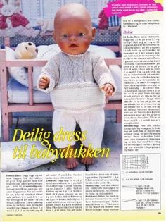 Billedresultat for baby born strikkeoppskrifter Knitting Dolls Clothes, Doll Clothes, Doll Patterns, Knitting Patterns, Build A Bear, Baby Born, Ag Dolls, Baby Knitting, American Girl