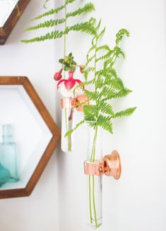 diy copper + glass vases | going home to roost - for the skinny spot between my windows and kitchen door.