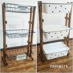 Completed with 100 items! Multi-purpose storage cart made with iron! - We have created a multi-purpose three-stage cart that can be made with only 100 items. Organizing Your Home, Home Organization, Storage Hacks, Storage Cart, Diy Interior, Diy Candles, Interiores Design, Diy Kitchen, Wardrobe Rack