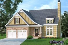 House plans with bonus room above garage square feet 57 trendy Ideas Bungalow House Plans, Craftsman Style House Plans, Exterior Siding, Exterior Design, Brick Bedroom, Room Above Garage, Exposed Rafters, Brick Facade, Bonus Rooms