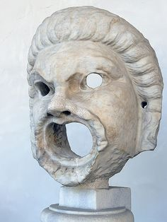 Male comic theater mask Roman 2nd century CE (1)   11   Photographed at theTerme di Diocleziano venue of the National Museum of Rome in Rome, Italy.