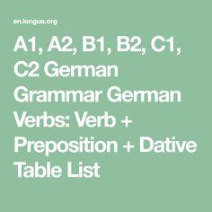 A1, A2, B1, B2, C1, C2 German Grammar German Verbs: Verb + Preposition + Dative Table List