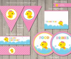 Hello, welcome to Little Apples Design!  Rubber Duck Custom Birthday Printable Package Digital  This is printable file and no physical items will be mailed to you. ***Matching Invitation found here:*** https://www.etsy.com/listing/123310436/duck-invitation-rubber-duck-invitation?ga_search_query=rubber%2Bduck  ***Baby Shower version also available.*** If your interested in the baby shower version please send an Etsy conversation message for a listing.  -----------...