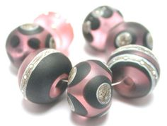 Glass Lampwork Beads Sale Store Wide Pink Black Silvered Ivory Free Shipping via Etsy