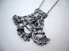 Long lace fan necklace in sterling silver