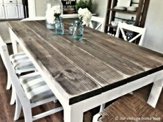DIY table with 2x8 boards (4.75 each for $31.00) from Lowes This is the coolest website! If you love Pottery Barn but cant spend the money, this website will give you tons of inspiration. - interiors-designed.com