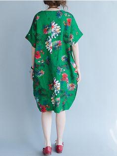 O-NEWE Women Loose Dress Printed Half Sleeve Pockets Pullover Dresses - Banggood Mobile