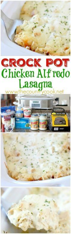 Crock Pot Chicken Alfredo Lasagna recipe from The Country Cook