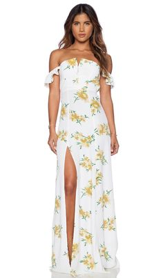 FLYNN SKYE Bardot Maxi Dress in Golden Poppy