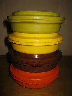 Vintage 1970s Seal n Serve Tupperware  set of 4  by oakiesclaptrap, etsy.com