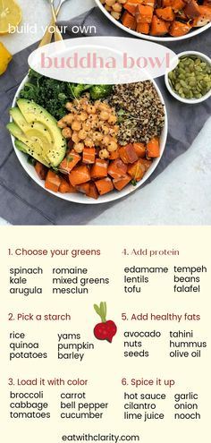 Buddha bowls are an easy and delicious way to pack a lot of nutrition flavor and antioxidants into one bowl. Buddha bowls are an easy and delicious way to pack a lot of nutrition flavor and antioxidants into one bowl. Whole Foods, Whole Food Recipes, Dinner Recipes, Cooking Recipes, Cooking Food, Cooking Videos, Clean Eating, Healthy Eating, Healthy Fats