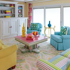 Bold colors and bright whites create an upbeat and lively family room!