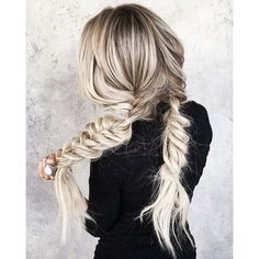 (16) Fishtail Pigtail Braids | White Gray Hair | Sexy Blogger Hair |... ❤ liked on Polyvore featuring hair and white hair accessories