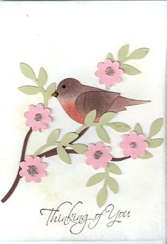 handmade card.... Robin in the Apple blossoms  ... two step bird punch colored like a robin ... gorgeous!! ... Stampin' Up!