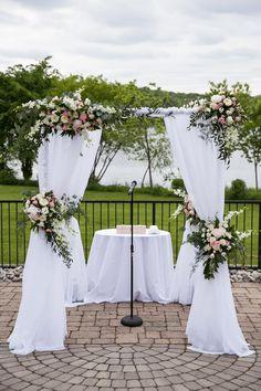 Kelli & Jason at the Lake House Inn: Femina Photo & Design. Backdrop Decorations, Ceremony Decorations, Backdrops, Outdoor Wedding Flowers, Lakeside Wedding, Chuppah, Wedding Goals, Wedding Inspiration, Wedding Ideas