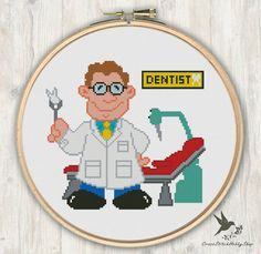 INSTANT DOWNLOAD Dentist, Modern Cross Stitch Pattern, Needlecraft ----------------------------------------------------- Pattern: Fabric: 14 count Aida Stitches: 98*91 Designed area: Width: 17.78cm Height 16.51cm 18 DMC Color Use 2 strands of thread for cross stitch 3 PDFs
