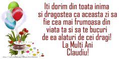 La mulți ani și multă sănătate Claudiu! - Felicitari de la multi ani pentru Claudiu - mesajeurarifelicitari.com Day Wishes, Nasa, Tik Tok, Birthday, Butterfly, Activities, Google Search, Quotes, Image