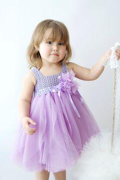 Lavanda y Lila bebé vestido de tul con cintura por AylinkaShop