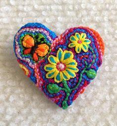 Freeform embroidery heart brooch  Brooch #123